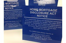 Acrylic self standing Home Mortgage Disclosure Act Notice signs.  Gurnee IL