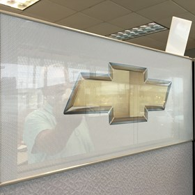 Myrtle Beach Chevrolet Cadillac Perforated Chevrolet Window